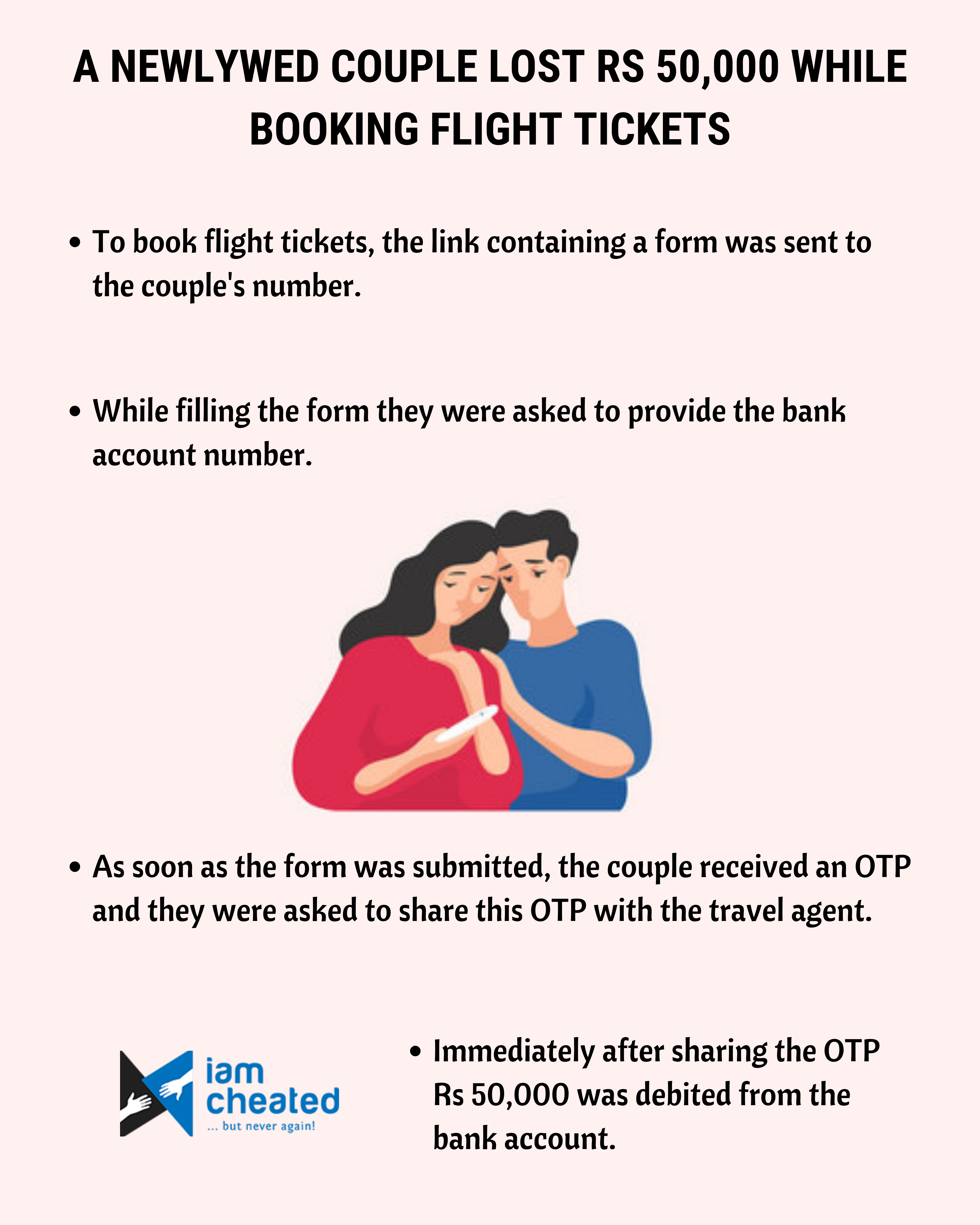 A newlywed couple lost Rs 50,000 while booking flight tickets