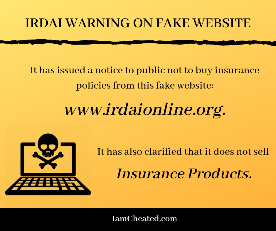 IRDAI warning on fake website