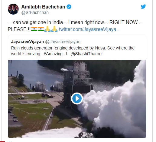 Sorry Mr Amitabh Bachchan, Nasa doesn't have a rain cloud generator