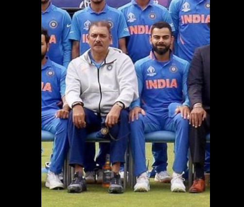 Ravi Shastri's image with liquor bottle under his chair is morphed